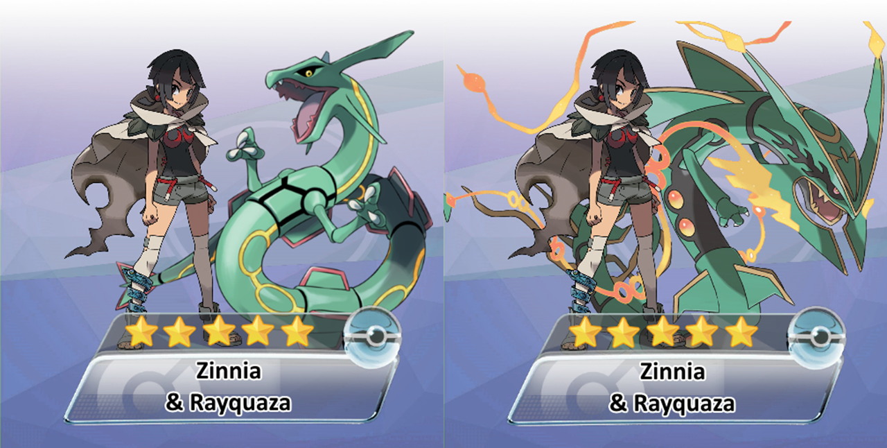 Zinnia and Rayquaza 5-Star Legendary Pokemon Masters Trainer